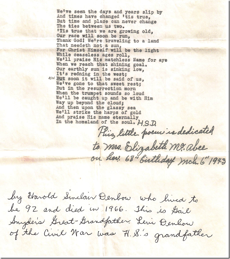 Poem dedicated to Mrs. Elizabeth McAbee (by Harold S. Denbow, 1943)