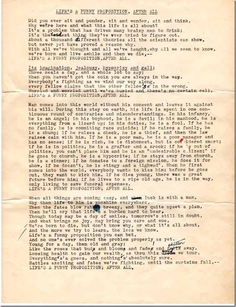 Uncle Bob (E.F. Denbow) Poem Life's a Funny Proposition